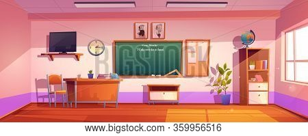 Empty Classroom With Inscription Welcome To School On Chalkboard. Vector Cartoon Illustration Of Cla