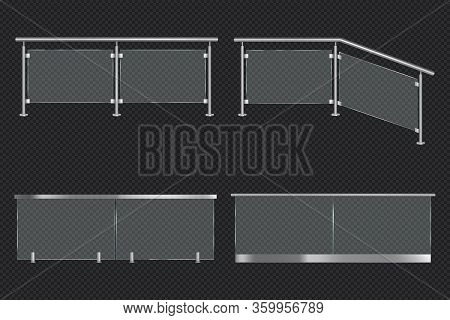 Glass Balustrade With Iron Banister Front And Angle View. Vector Realistic Mockup Of Different Secti