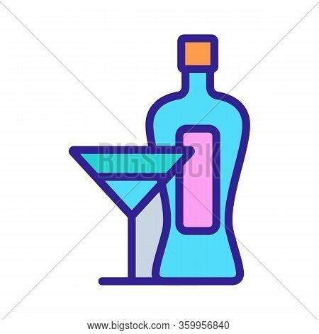Martini Bottle Glass Icon Vector. Martini Bottle Glass Sign. Color Contour Symbol Illustration