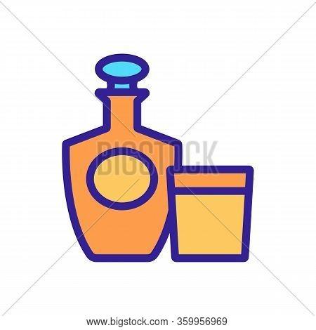 Brandy Bottle Glass Icon Vector. Brandy Bottle Glass Sign. Color Contour Symbol Illustration