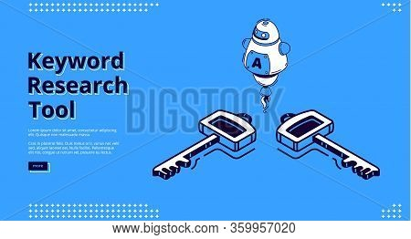 Keyword Research Tool Banner With Isometric Icons On Blue Background. Vector Landing Page Of Seo Opt