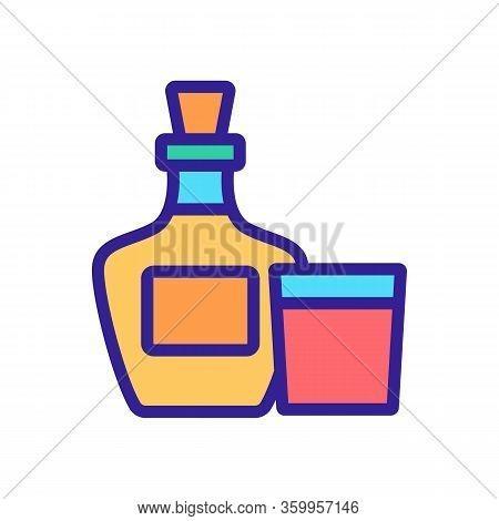 Whiskey Bottle Glass Icon Vector. Whiskey Bottle Glass Sign. Color Contour Symbol Illustration