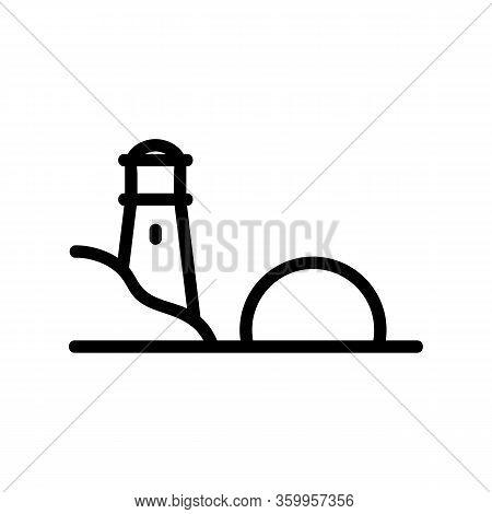 Sunset Sea Lighthouse Icon Vector. Sunset Sea Lighthouse Sign. Isolated Contour Symbol Illustration