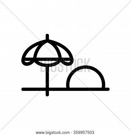 Sunset Beach Icon Vector. Sunset Beach Sign. Isolated Contour Symbol Illustration