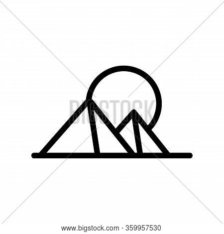 Sunset Pyramid Icon Vector. Sunset Pyramid Sign. Isolated Contour Symbol Illustration