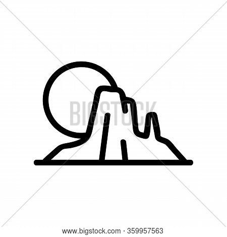 Sunset Mountains Icon Vector. Sunset Mountains Sign. Isolated Contour Symbol Illustration