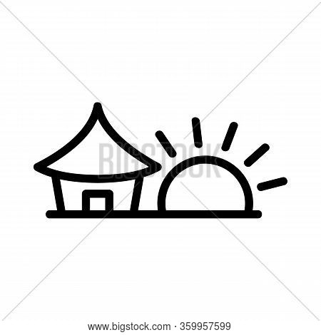 Sunset House Icon Vector. Sunset House Sign. Isolated Contour Symbol Illustration