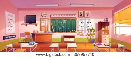 Classroom For Math Study With Graph On Chalkboard. Vector Cartoon Illustration Of Empty Class Interi