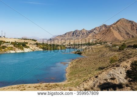 Naryn River Near The City Of Tash-kumyr In The Jalal-abad Region Of Kyrgyzstan.