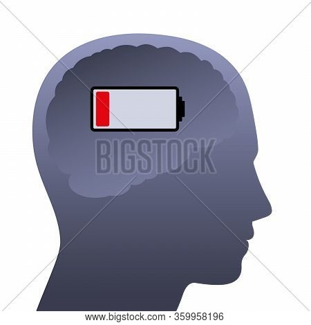 Human Brain With Weak Battery. Empty Head With Low Power, Symbolic For Stress, Depression, Burnout,