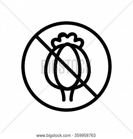 The Poppy Plant Is Banned Icon Vector. The Poppy Plant Is Banned Sign. Isolated Contour Symbol Illus