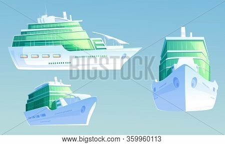 Cruise Ship. Luxury Passenger Liner For Summer Vacation And Sea Travel. Vector Cartoon Illustration