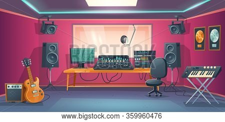 Music Studio Control Room And Singer Booth Behind Glass. Vector Cartoon Interior With Sound Recordin