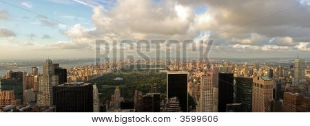 Aerial view of Central Park and midtown north Manhattan Harlem Bronx in New York City upper west and east side Washington Heights 5th Avenue poster