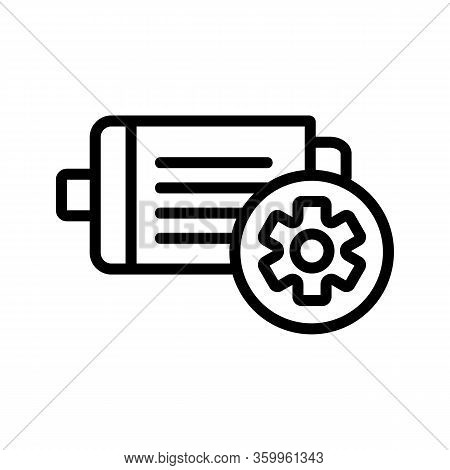 Electric Motor Industrial Icon Vector. Electric Motor Industrial Sign. Isolated Contour Symbol Illus