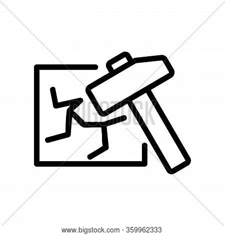 Break The Glass Icon Vector. Break The Glass Sign. Isolated Contour Symbol Illustration