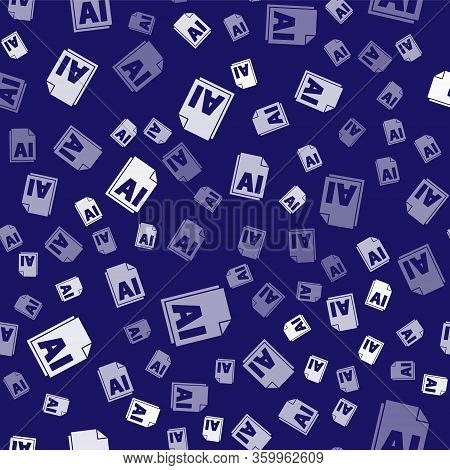 White Ai File Document. Download Ai Button Icon Isolated Seamless Pattern On Blue Background. Ai Fil