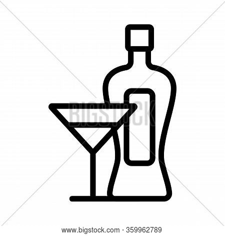 Martini Bottle Glass Icon Vector. Martini Bottle Glass Sign. Isolated Contour Symbol Illustration