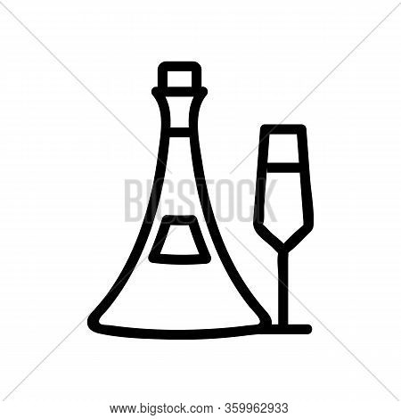 Cognac Bottle Glass Icon Vector. Cognac Bottle Glass Sign. Isolated Contour Symbol Illustration