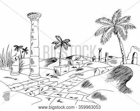 Desert Ruin Graphic Black White Landscape Sketch Illustration Vector