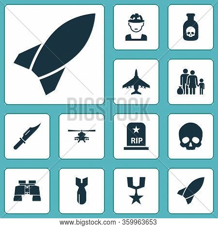 Army Icons Set With Knife, Bomb, Helicopter And Other Fugitive Elements. Isolated Vector Illustratio