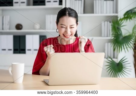 Excited Female Feeling Euphoric Celebrating Online Win Success Achievement Result, Young Woman Happy