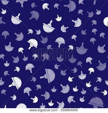 White Light Emitting Diode Icon Isolated Seamless Pattern On Blue Background. Semiconductor Diode El