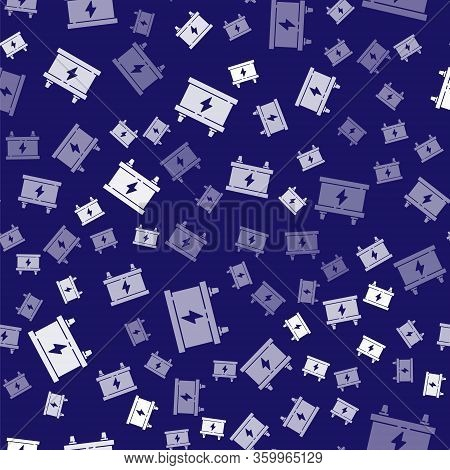 White Car Battery Icon Isolated Seamless Pattern On Blue Background. Accumulator Battery Energy Powe