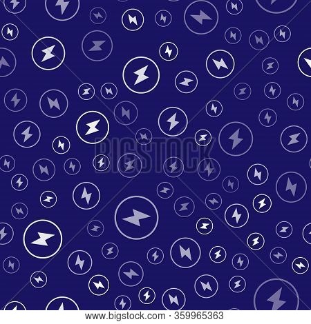 White Lightning Bolt Icon Isolated Seamless Pattern On Blue Background. Flash Sign. Charge Flash Ico