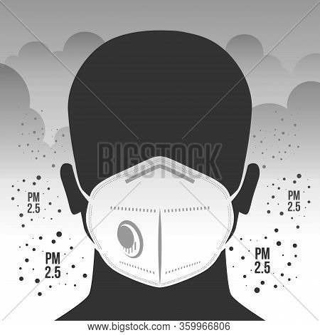 Air Pollution Concept With Dust Masker Sign In Pm 2.5 Dust Clouds And Smoke Vector Design