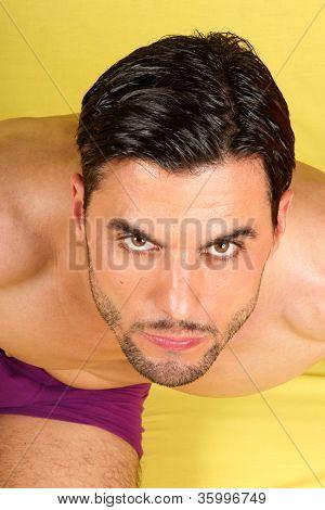 Handsome Man In Purple Underwear