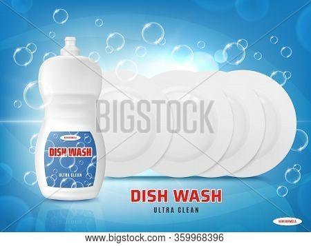 Dish Wash Liquid With Soap Bubbles And Plates Shine Light On Blue Vector Background. Dishwashing Liq
