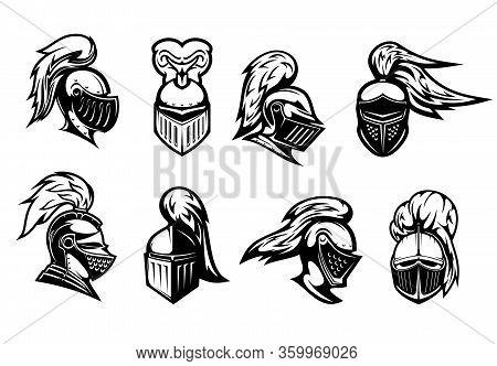 Knight In Helmet Armor, Spartan Warrior Head, Vector Heraldic Icons. Medieval Warrior Knight In Armo