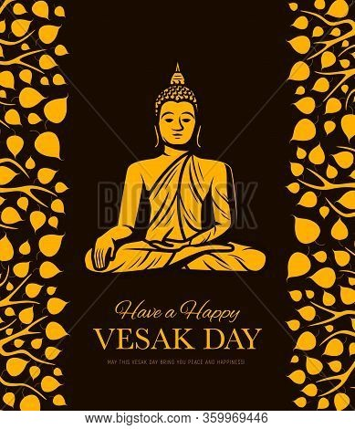 Buddha And Bodhi Tree Leaves, Buddhism Religion Vesak Day. Vector Gold Statue Of Meditating Buddha W