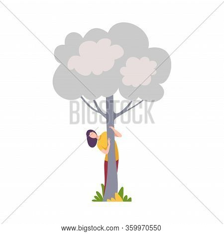 Young Woman Hiding And Peeking Behind White Tree Vector Illustration