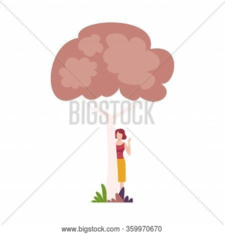 Young Woman Standing Behind Tree And Waving Her Hand Vector Illustration