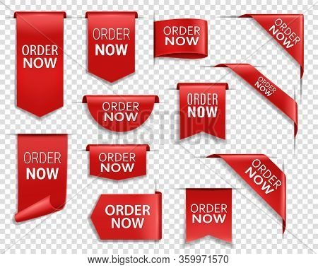 Order Now Red Ribbons, Online Shopping Web Banners. Order Now Icons Of Corner Bookmarks, Tags, Flags