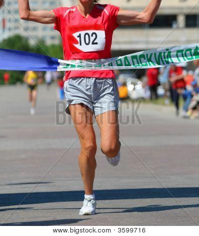 Finishing Run Woman