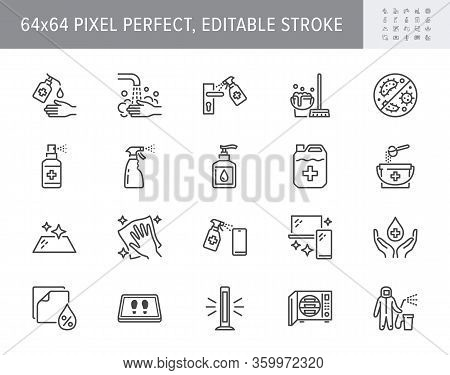 Disinfection Line Icons. Vector Illustration Included Icon As Spray Bottle, Floor Cleaning Mop, Wash