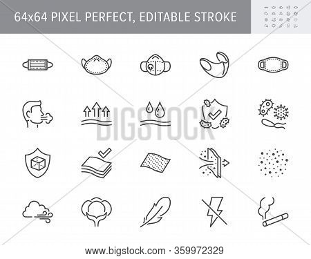 Medical Masks Line Icons. Vector Illustration Included Icon - N95 Respirator Mask, External Influenc