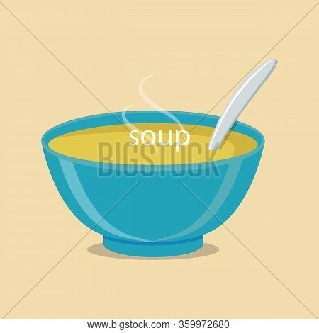 Soup With Vegetables Isolated On White Background. Vector Illustration. Hot Bowl Of Soup, Dish Isola