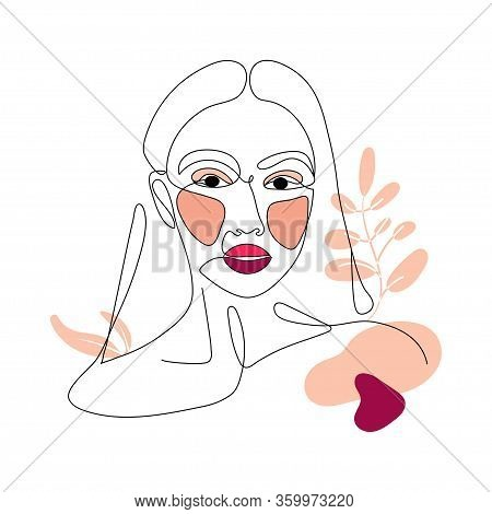 Pretty Girl Continuous Line Drawing Minimalist Logo Design On White Background. One Line Drawing Bod