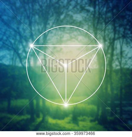 Merkaba Sacred Geometry Spiritual New Age Futuristic Illustration With Interlocking Circles, Triangl