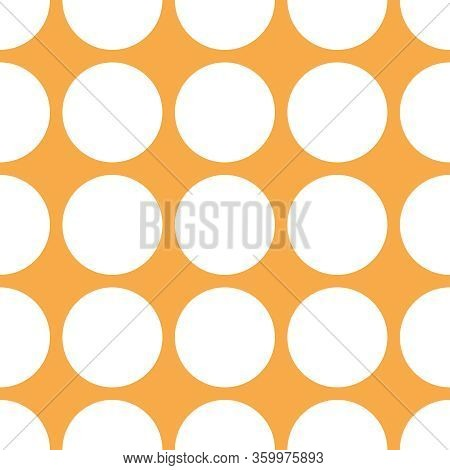 Tile Vector Pattern With White Polka Dots On Orange Background For Seamless Decoration Wallpaper