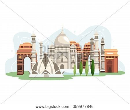 Illustration Of India Landmarks. Travel Panorama India, India City Skyline. Travel And Tourism Conce