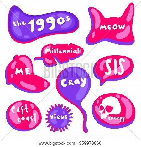 Colored Icons In A Bright Fluorescent Purple And Pink Style. Collection Of Vector Multicolored Gloss