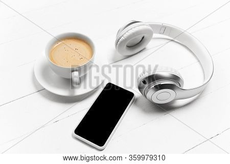 Gadgets And Coffee. Blank Screen. Monochrome Stylish And Trendy Composition In White Color On Studio