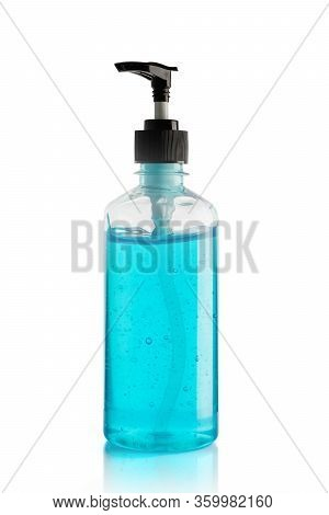 Bottle Of Hand Sanitizer Blue Gel Isolated On White Background, Concept Prevent Disease Covid-19, Fi
