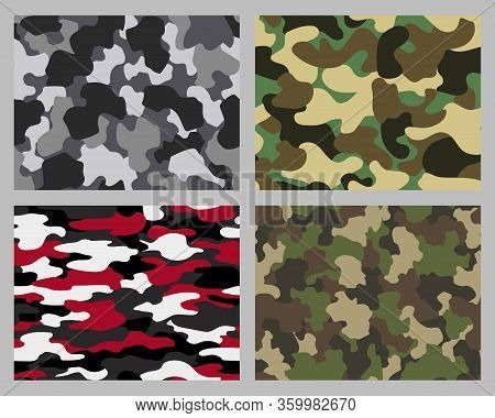 Set Of Camouflage Seamless Patterns. Abstract Military Or Hunting Camouflage Backgrounds. Classic Cl