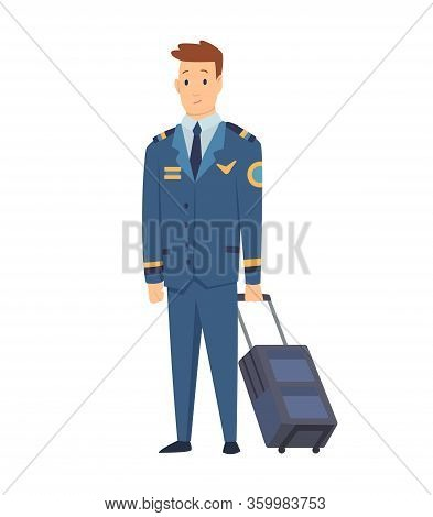 Smiling Civilian Aircraft Pilot, Aircrew Captain, Aviator Or Airman Dressed In Uniform With Suitcase